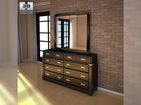 Ashley Diana Dresser & Mirror 3D Model