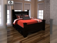 Ashley Shay Queen Poster Bed with Storage 3D Model