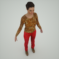 3D Girl in Red Pants 3D Model
