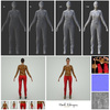 07 29 01 192 mark florquin girl red pants tiger print top wireframe standard pose normal diffuse displacement map 4