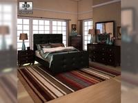 Ashley Carlyle Upholstered Bedroom Set 3D Model