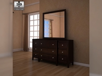 Ashley Carlyle Dresser & Mirror 3D Model