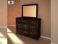 Ashley Martini Suite Dresser & Mirror  3D Model