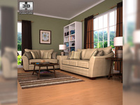 Ashley Lena - Putty Sofa & Loveseat Living Room Set 3D Model