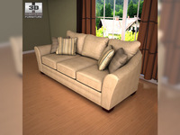 Ashley Lena - Putty Sofa  3D Model
