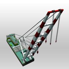 Crane Barge 3D Model