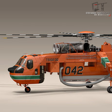 S64F Skycrane 3D Model