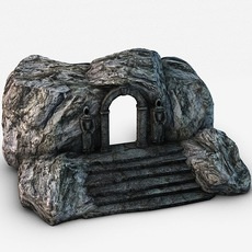 Ancient entrance with stone statues 3D Model