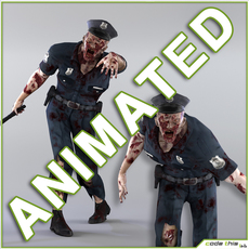 Zombie Policeman Animated 3D Model