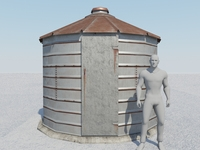 Small Old Grain Bin 3D Model