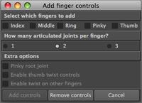 Free Finger control's attributes creator for Maya 1.0.0 (maya script)