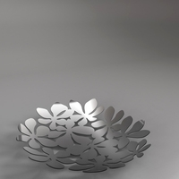Silver center piece dish with flowery design 3D Model