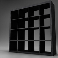 dark wood bookcase storage 3D Model