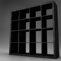 dark wood bookcase storage 3D Model
