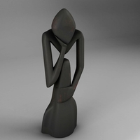 decorative thinker statue art 3D Model