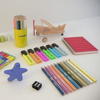 Kid's room, school items 3D Model