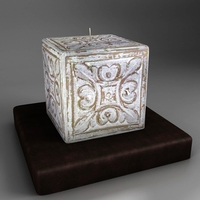Decorative square candle - white 3D Model