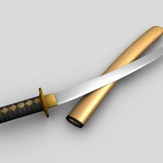 Samurai Sword Polygon Model 3D Model