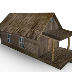 Rustic Wood House Low Polygon 3D Model