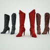 07 48 43 796 leather tall boots red black brown 3d model 3 4