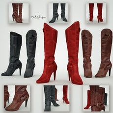 Red, black & brown leather boots 3D Model