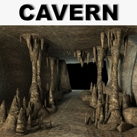 Cavern with stalactites 3D Model