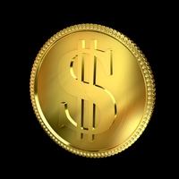 Dollar Golden Coin 3D Model