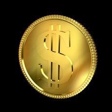 Dollar Golden Coin 3D Model