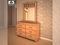 Ashley Dresser & Mirror 3D Model