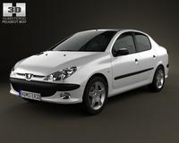 Peugeot 206 sedan 2010 3D Model