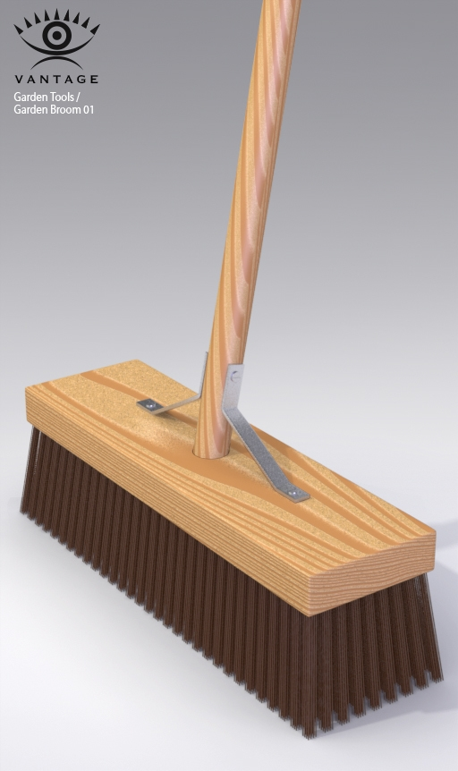 Garden broom 01 3d model for Gardening tools 3d model