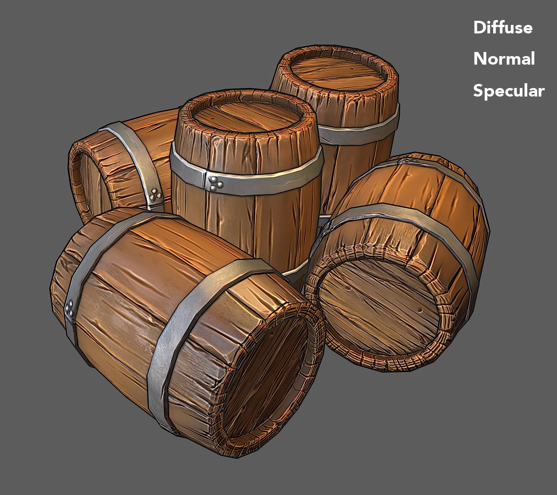 Low Poly Wooden Barrel 3D Model