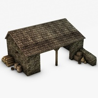 Farm Stable with props 3D Model