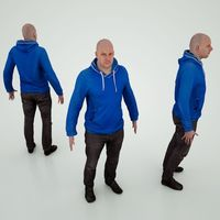 Male Character Blue Hood 3D Model