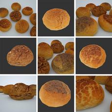 4 bread rolls 3D Model