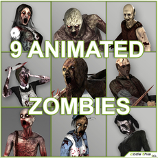 Low Poly Zombies Animated 3D Model