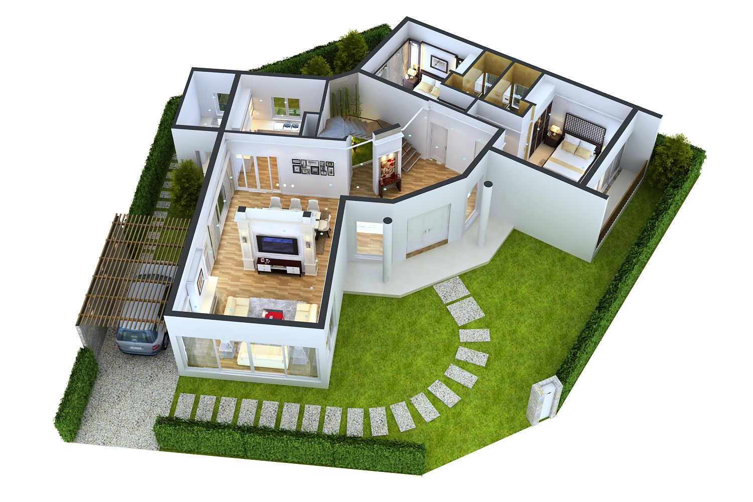 Detailed house floor 1 cutaway 3d model Modern house 1 floor