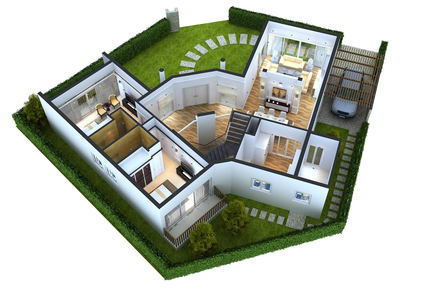 Detailed house floor 1 cutaway 3d model for Model decoration maison