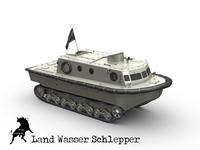 Land Wasser Schlepper 3D Model
