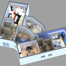 Detailed House floor 2 Cutaway 3D model 3D Model