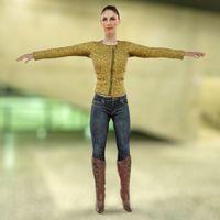 Golden Jacket Girl 3D Model
