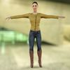 Golden Jacket Girl 3D Model