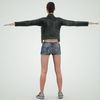 08 11 17 72 photorealistic 3d girl leather jacket hotpants jeans cute sexy woman avatar 3d full body scan 360 2 4
