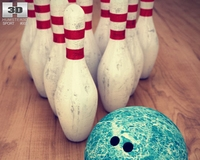 Bowling Pins & Ball Set 3D Model