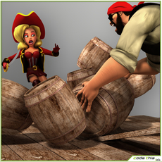 Cartoon Package Male and Female Pirates Rigged 3D Model
