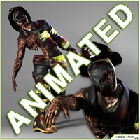 Low Poly Zombie Fireman 3D Model
