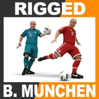 Rigged Football Player and Goalkeeper - FC Bayern Munchen 3D Model