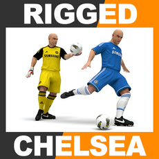 Rigged Football Player and Goalkeeper - Chelsea FC 3D Model