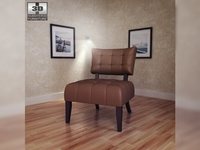 Beige Microfiber Chair - Allen Park 3D Model