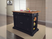Kitchen Island in Black with Oak Top - Home Styles 3D Model